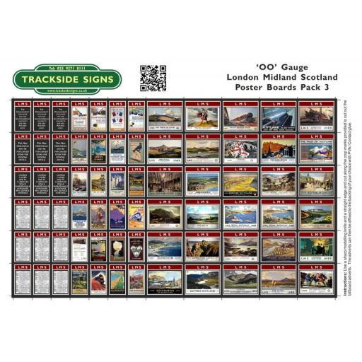 LMS Station Poster Board Sheets Pack 3 - 'OO' Gauge