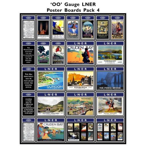 Die Cut Self Adhesive LNER (Blue) Poster Boards Pack 4