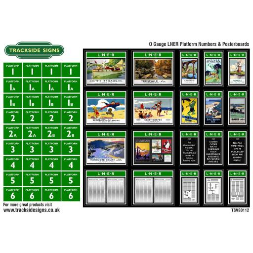 LNER - Platform Numbers and Posterboards - Green and White - O Gauge
