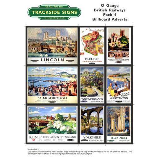 British Railways Billboard Sheet- Pack 4 - O Gauge