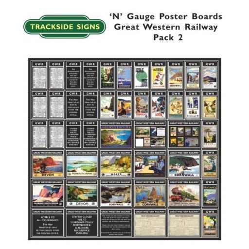 Die Cut GWR Poster Boards (Black) Pack 2 - N Gauge