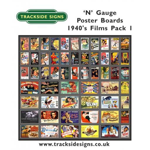 Die Cut 1940's Films Poster Boards - N Gauge