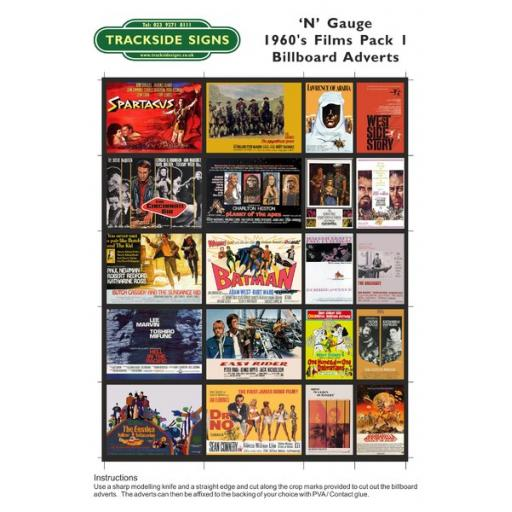 1960's Films - Billboard Sheets - Pack 1 - 'N' Gauge