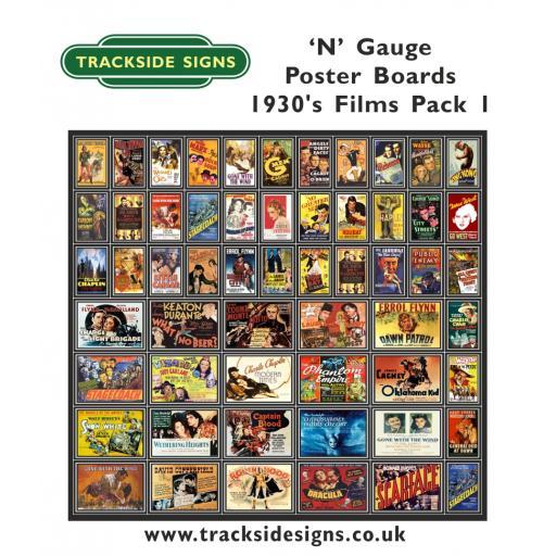 Die Cut 1930's Films Poster Boards - N Gauge