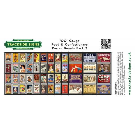 Food & Confectionary Station Poster Board Sheets Pack 2 - 'OO' Gauge