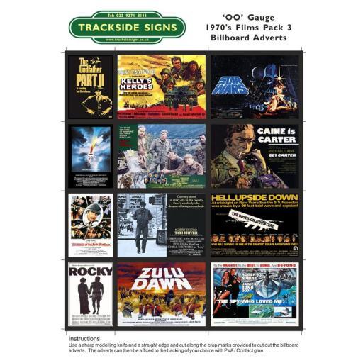 1970's Films Billboard Sheets Pack 3 - OO Gauge