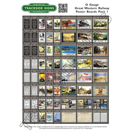 GWR Poster Board Sheets Pack 1 - 'O' Gauge