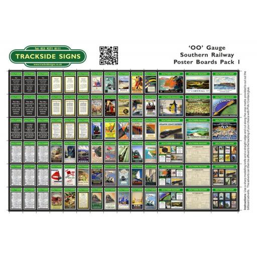 Southern Railway - Poster Board Sheets Pack 1 - OO Gauge