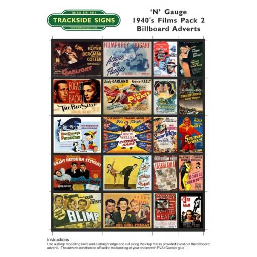 1940's Films - Billboard Sheets - Pack 2 - N Gauge