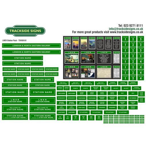 LNER (Green and White) Small Station Sign Packs - OO Gauge