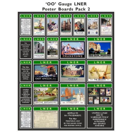 Die Cut Self Adhesive LNER (Green & Cream) Poster Boards Pack 2