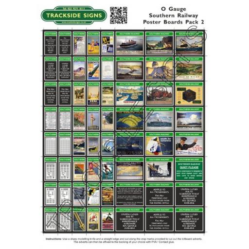 Southern Railway Poster Board Sheets Pack 2 O Gauge
