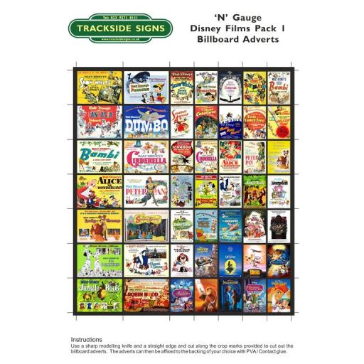 Disney Films Billboard Sheet Pack 1 - N Gauge