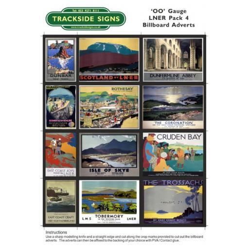 LNER Billboard Sheets Pack 4 - OO Gauge