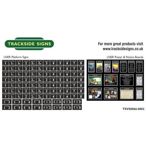 LNER - Platform Numbers and Posterboards - Black - N Gauge