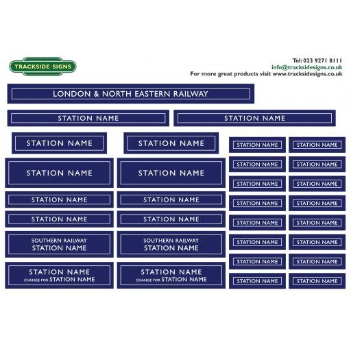 LNER - Station Name Signs - O Gauge - 4 Colour Options Available