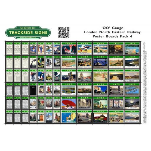 LNER - Poster Board Sheets Pack 4 - OO Gauge
