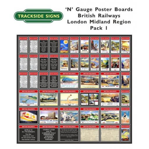Die Cut British Railways London Midland Region Poster Boards - N Gauge