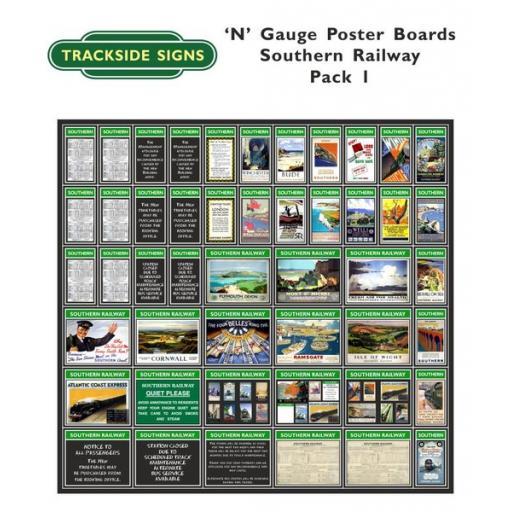 Die Cut Southern Railway Poster Boards (Green) Pack 1 - N Gauge