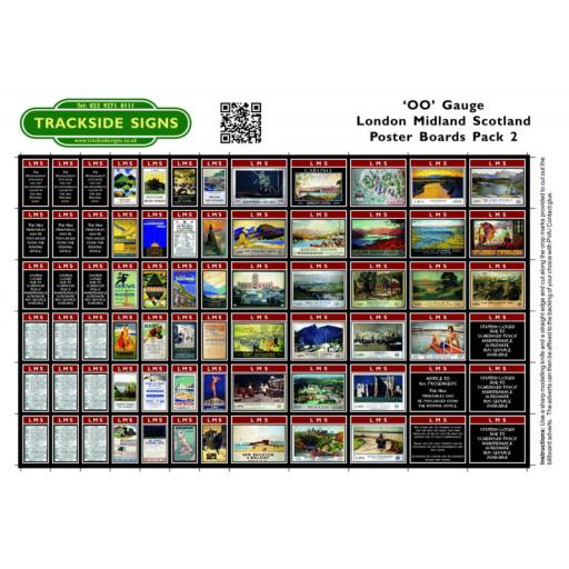LMS Station Poster Board Sheets Pack 2 - 'OO' Gauge