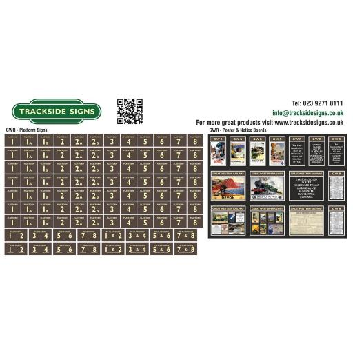 GWR - Platform Numbers and Posterboards - Brown and Cream - OO Gauge