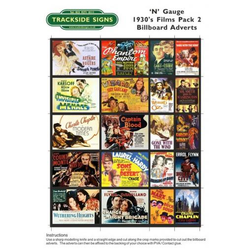 1930's Films - Billboard Sheets - Pack 2 - N Gauge