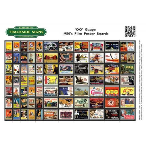 1950's Films Station Poster Board Sheets - 'OO' Gauge