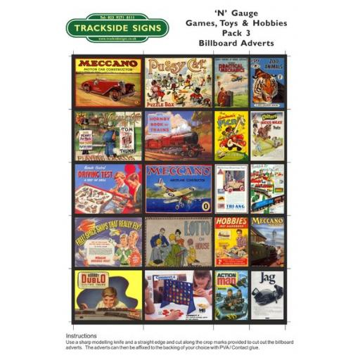 Toys & Games - Billboard Sheets - Pack 3 - 'N' Gauge