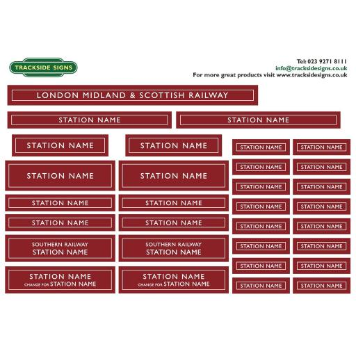 LMS - Full Station Sign Set - O Gauge - 2 Colour Options available