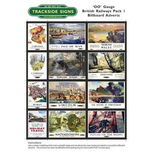 British Railways Billboard Sheet- Pack 1 - OO Gauge