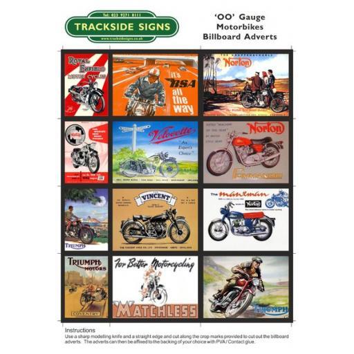 Motorbike Billboard Sheets Pack 1 - 'OO' Gauge