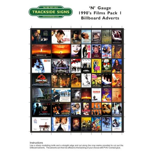 1990's Films Billboard Sheets Pack 1 - 'N' Gauge