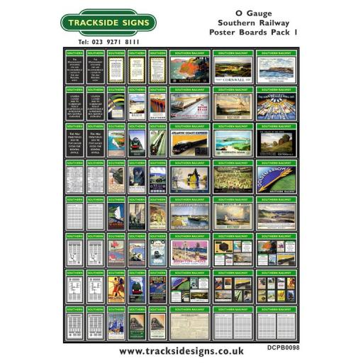 Die Cut Southern Railway Poster Boards Pack 1 (Green & White) - O Gauge