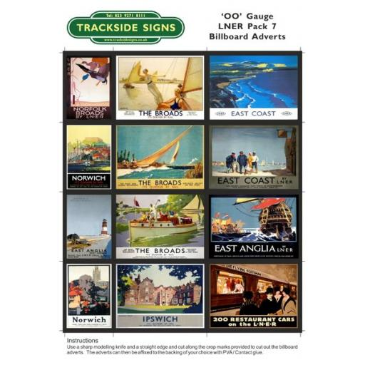 LNER Billboard Sheets Pack 7 - 'OO' Gauge