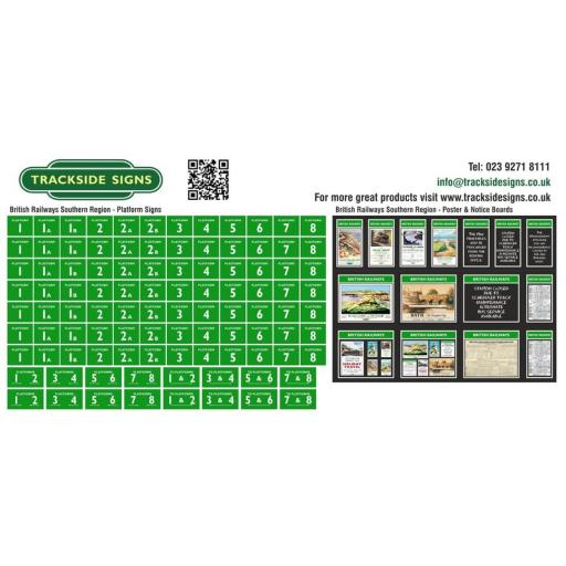 British Railways Southern Region Platform Numbers and Posterboards - OO Gauge