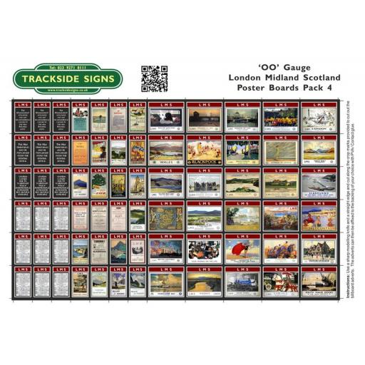 LMS Station Poster Board Sheets Pack 4 - 'OO' Gauge