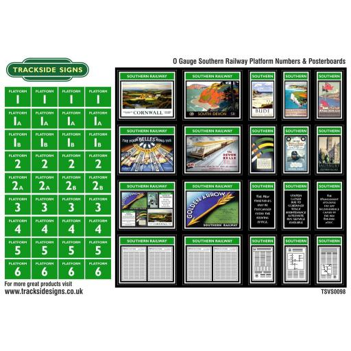 Southern Railway - Platform Numbers and Posterboards - Green and White - O Gauge