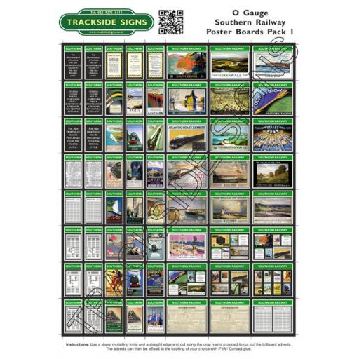 Southern Railway Poster Board Sheets Pack 1 O Gauge