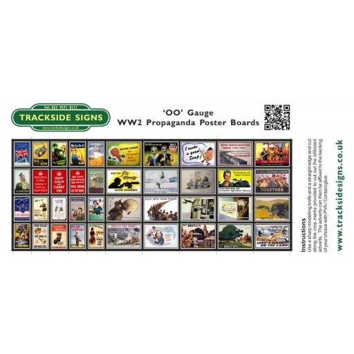 WW2 Propaganda Station Poster Board Sheets - 'OO' Gauge