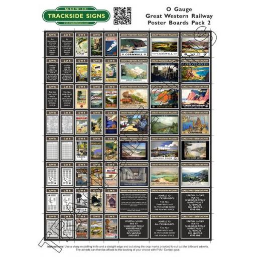 GWR Poster Board Sheets Pack 2- 'O' Gauge