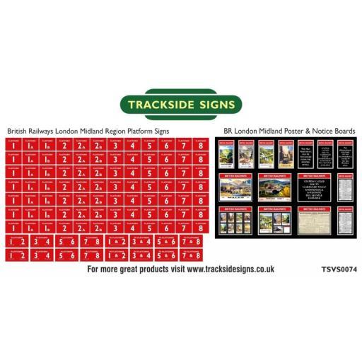 British Railways London Midland Region Platform Numbers and Posterboards - N Gauge