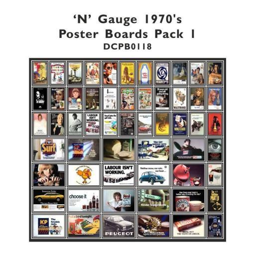 Die Cut 1970's Advert Poster Boards - N Gauge