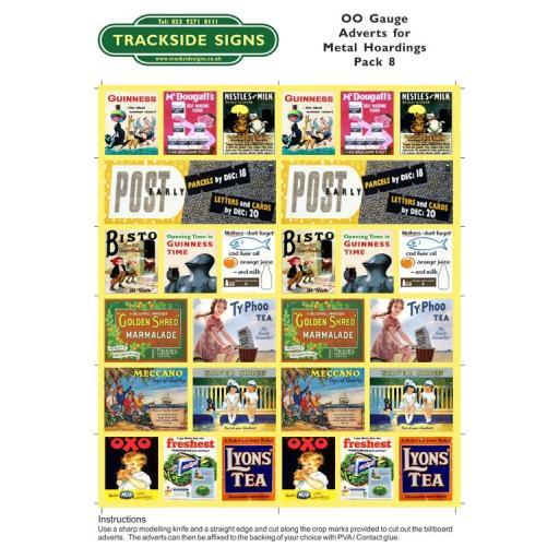 OO Gauge (4mm) - Adverts for Metal Hoardings - Pack 8